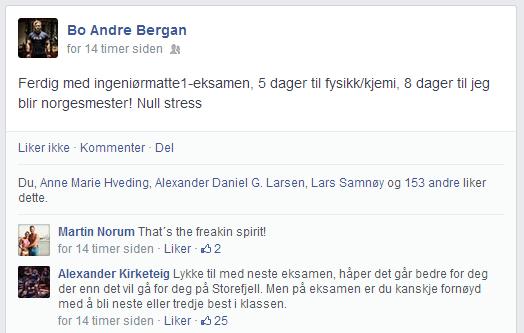Bo og Alexander sender stadig noen kommentarer på facebook, her er en av de.