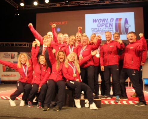 Norges lag i VM Styrkeløft Utstyr Åpen 2017. FOTO: JØRGEN HAUG